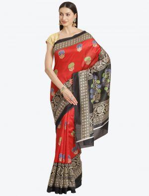 Red  Bhagalpuri Art Silk Designer Saree small FABSA20870
