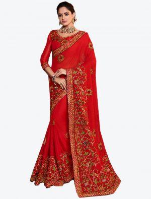 Red Dola Silk Designer Saree small FABSA20771