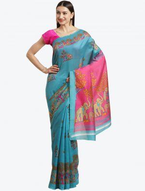 SKy Blue Bhagalpuri Art Silk Designer Saree small FABSA20881