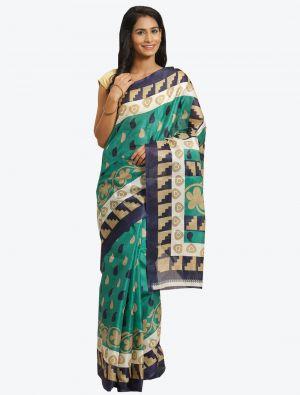 Turquoise Blue Bhagalpuri Art Silk Designer Saree small FABSA20878