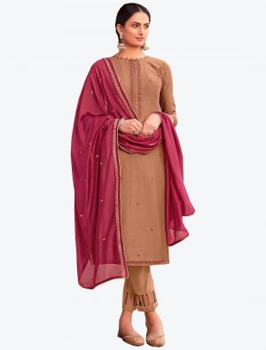 Beige Viscose Muslin Semi Stitched Designer Suit with Dupatta small FABSL20328