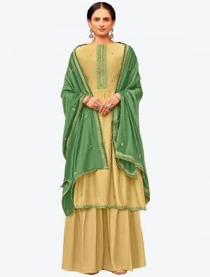 Cream Viscose Muslin Semi Stitched Designer Suit with Dupatta small FABSL20331