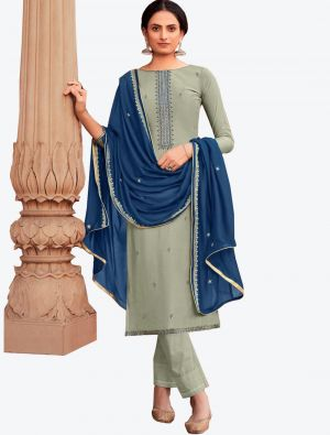 Grey Viscose Muslin Semi Stitched Designer Suit with Dupatta small FABSL20327