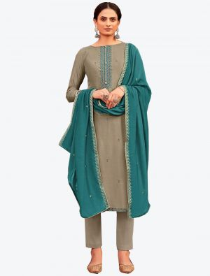 Grey Viscose Muslin Semi Stitched Designer Suit with Dupatta small FABSL20330