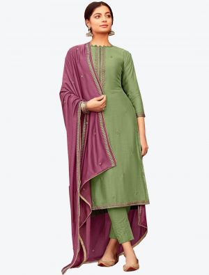 Pastel Green Viscose Muslin Semi Stitched Designer Suit with Dupatta small FABSL20325
