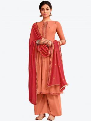 Peach Viscose Muslin Semi Stitched Designer Suit with Dupatta small FABSL20326