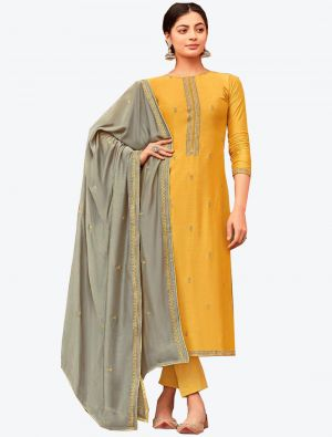 Yellow Viscose Muslin Semi Stitched Designer Suit with Dupatta small FABSL20329