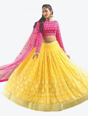 Bright Yellow Pure Bemberg Georgette Readymade Designer Lehenga Choli with Dupatta FABLE20103