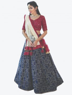 Navy Blue Pure Bemberg Georgette Readymade Designer Lehenga Choli with Dupatta FABLE20105