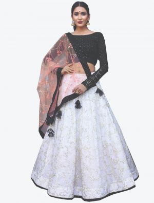 White Pure Bemberg Georgette Readymade Designer Lehenga Choli with Dupatta FABLE20104
