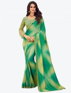 Faint Green Digital Printed Dola Silk Designer Saree small FABSA21055