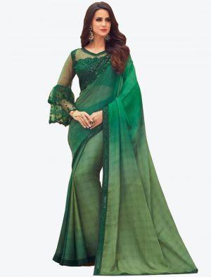 Fern Green Digital Printed Chiffon Designer Saree small FABSA21050