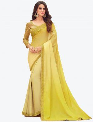 Pastel Yellow Digital Printed Chiffon Designer Saree small FABSA21060