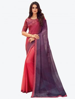 Pinkish Purple Digital Printed Chiffon Designer Saree small FABSA21059