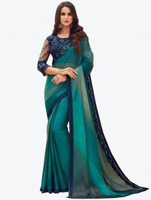 Rama Digital Printed Chiffon Designer Saree small FABSA21058