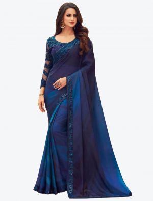 Royal Blue Digital Printed Chiffon Designer Saree small FABSA21051