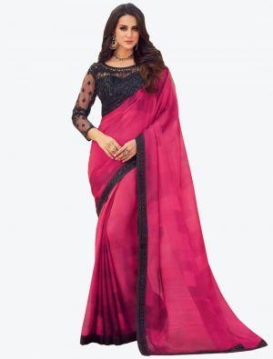 Vibrant Pink Digital Printed Chiffon Designer Saree small FABSA21053