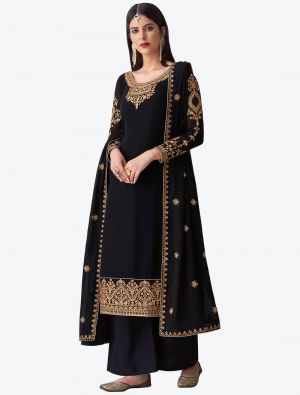 Black Pure Georgette Diamond Embroidered Palazzo Suit small FABSL20482