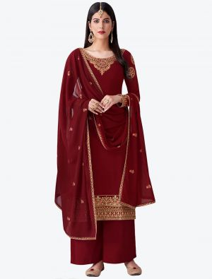 Deep Red Pure Georgette Diamond Embroidered Palazzo Suit small FABSL20478