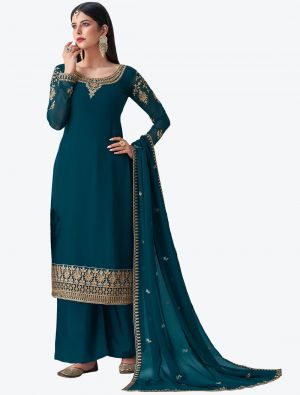 Teal Blue Pure Georgette Diamond Embroidered Palazzo Suit small FABSL20483