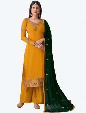 Warm Yellow Pure Georgette Diamond Embroidered Palazzo Suit small FABSL20479