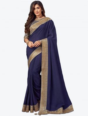 Blue Embroidered Fancy Designer Saree small FABSA21079