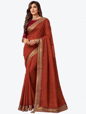 Dark Orange Embroidered Fancy Designer Saree small FABSA21084