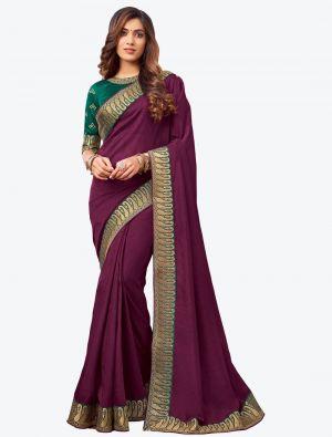 Dark Purple Embroidered Fancy Designer Saree small FABSA21077