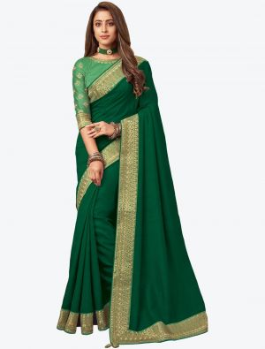 Fern Green Embroidered Fancy Designer Saree small FABSA21083