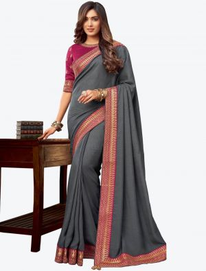 Grey Embroidered Fancy Designer Saree small FABSA21080
