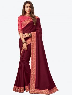 Maroon Embroidered Fancy Designer Saree small FABSA21078