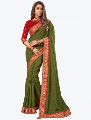 Mehendi Green Embroidered Fancy Designer Saree small FABSA21087