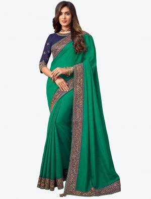 Mint Green Embroidered Fancy Designer Saree small FABSA21086
