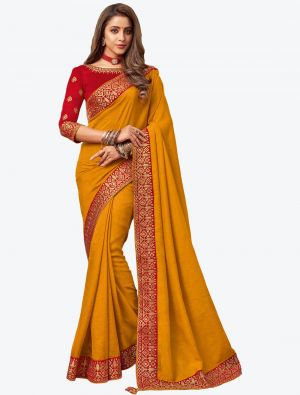 Mustard Yellow Embroidered Fancy Designer Saree small FABSA21082