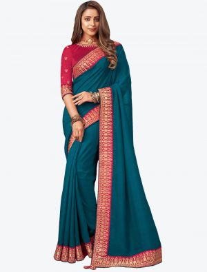 Teal Blue Embroidered Fancy Designer Saree small FABSA21085