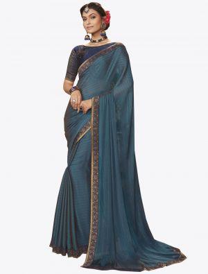 Blue Chiffon Dyed Zari Fabric Designer Saree small FABSA20734