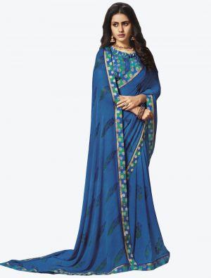 Blue Georgette Designer Saree small FABSA20648