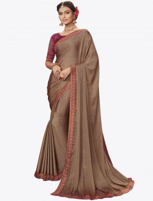 Brown Chiffon Dyed Zari Fabric Designer Saree small FABSA20738