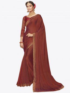 Dark Orange Chiffon Dyed Zari Fabric Designer Saree small FABSA20742