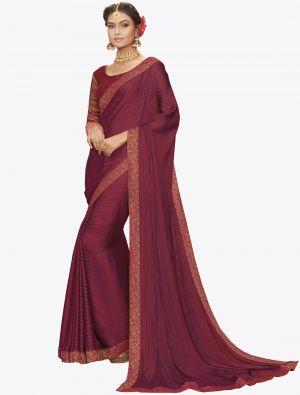 Dark Pink Chiffon Dyed Zari Fabric Designer Saree small FABSA20735