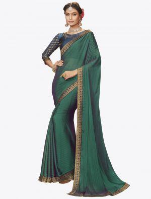 Forest Green Chiffon Dyed Zari Fabric Designer Saree small FABSA20739