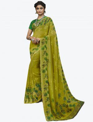 Light Green Georgette Butta Designer Saree small FABSA20639