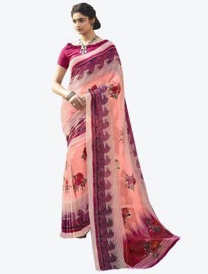 Light Pink Georgette Butta Designer Saree small FABSA20643