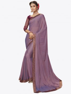 Light Purple Chiffon Dyed Zari Fabric Designer Saree small FABSA20740