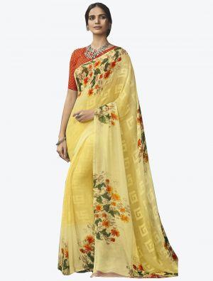 Light Yellow Georgette Butta Designer Saree small FABSA20641