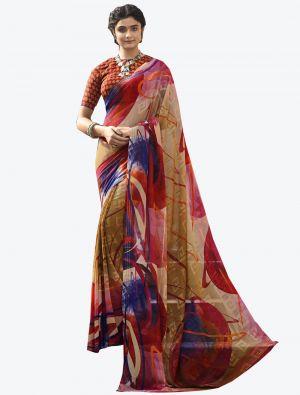 Multicolor Georgette Butta Designer Saree small FABSA20640