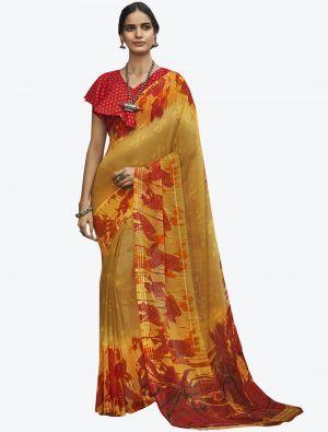 Mustard Yellow Georgette Butta Designer Saree small FABSA20638