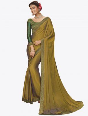 Olive Green Chiffon Dyed Zari Fabric Designer Saree small FABSA20736