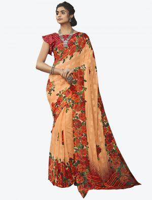 Orange Georgette Butta Designer Saree small FABSA20636