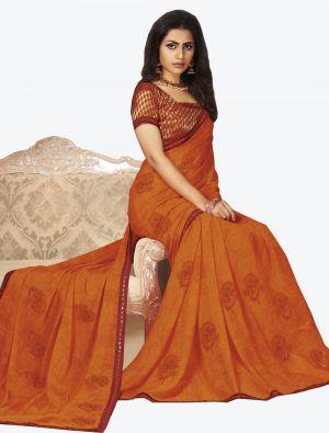 Orange Georgette Designer Saree small FABSA20656